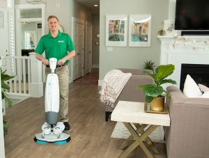 Chem-Dry tech cleaning wood floors