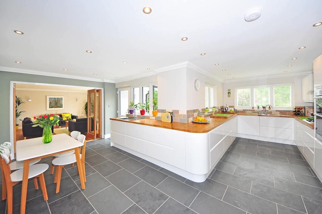 gray tile floor in lafayette kitchen