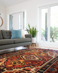 Colored oriental rug in living room